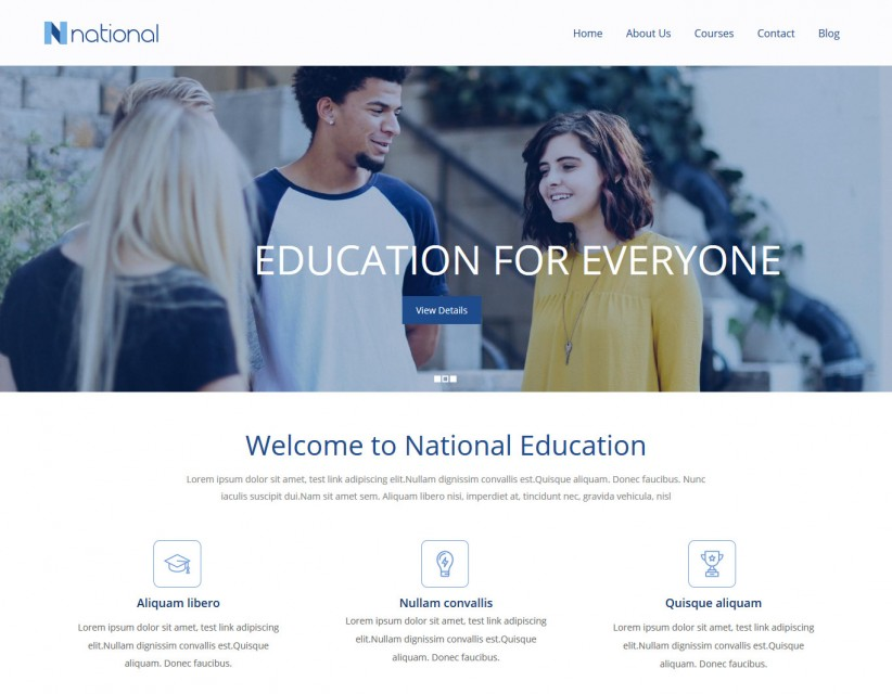 National Institute - Training Institute WordPress Theme