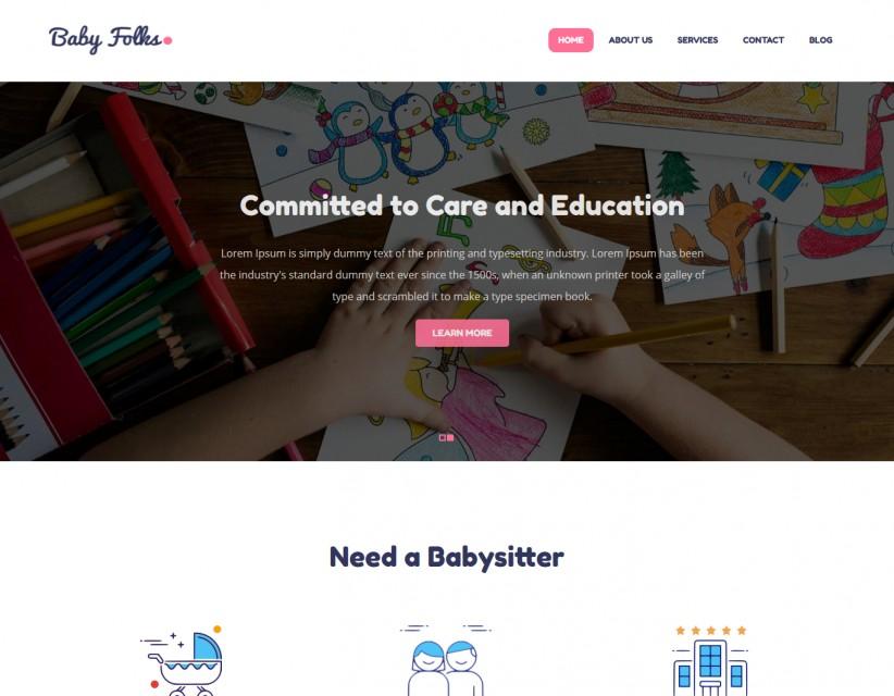 Baby Folks - Babysitter Responsive WordPress Theme
