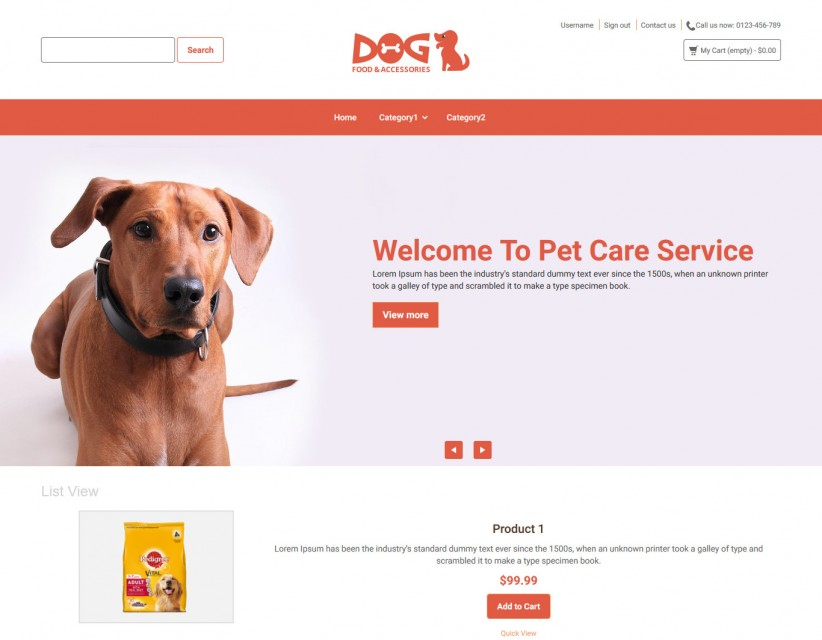 Dog- Dog Food and Accessories Online store Responsive Prestashop Theme