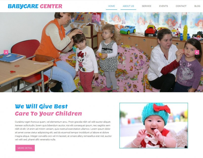 Babycare Center - Free WordPress Theme For Baby Care