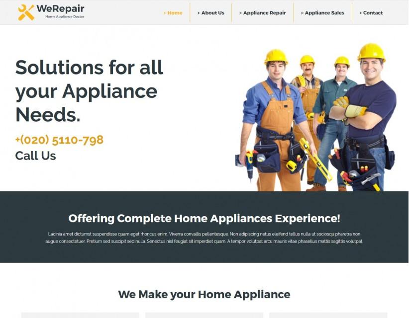 WeRepair - Home Appliance Repair Company WordPress Theme