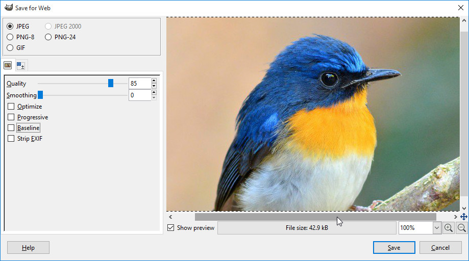 GIMP - Save for Web Plugin: How to Optimize Images for Web