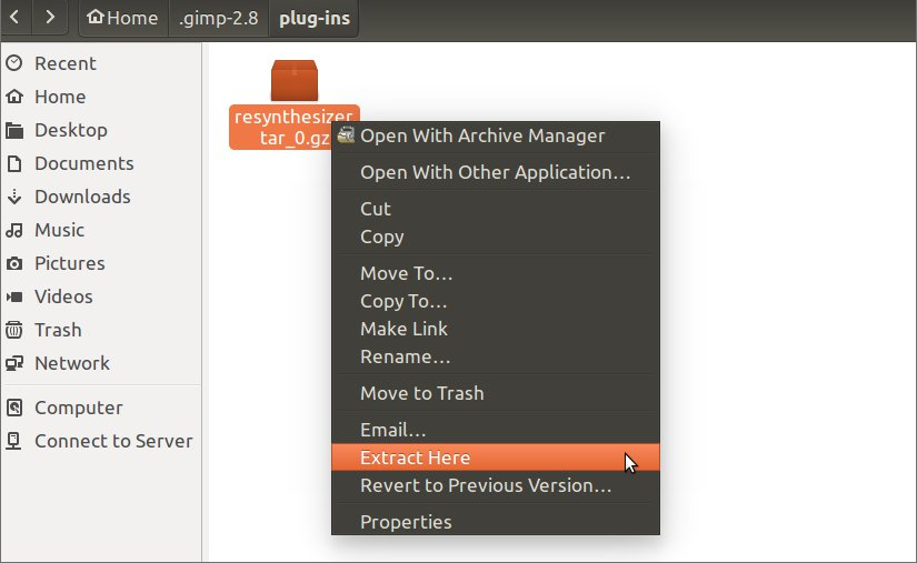 gimp resynthesis plugin Using arch linux and latest git packages from aur: $ pacman -q gimp-git gimp-plugin-resynthesizer-git gimp-git 20150908gdf2a485-1.