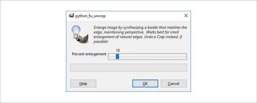 GIMP Resynthesizer plugin Uncrop screenshot