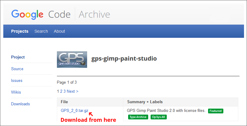 download-page for windows
