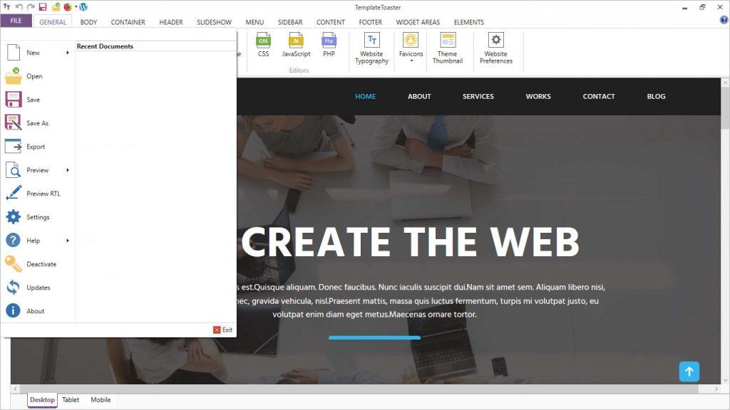 templatetoaster software file menu