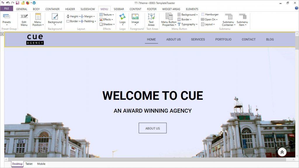 templatetoaster software menu options
