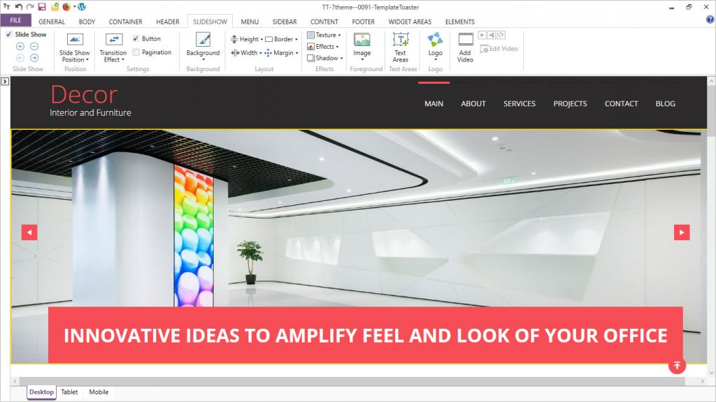 templatetoaster software slide show options