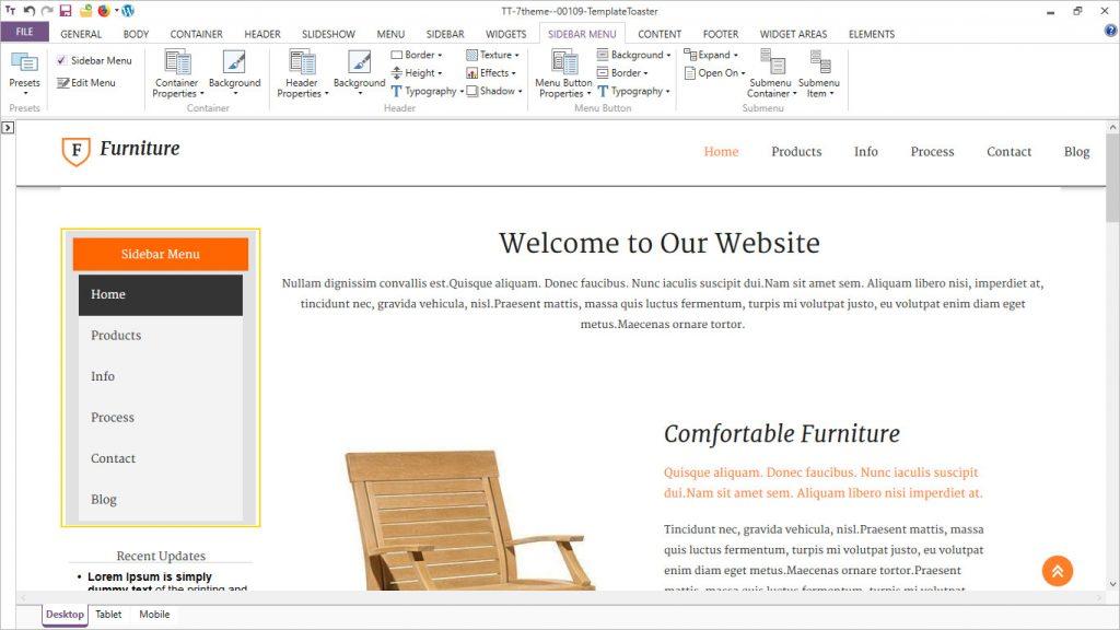 templatetoaster software vertical menu options