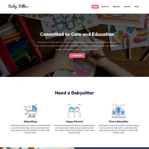 Baby Folks Babysitter Responsive Free WordPress Theme