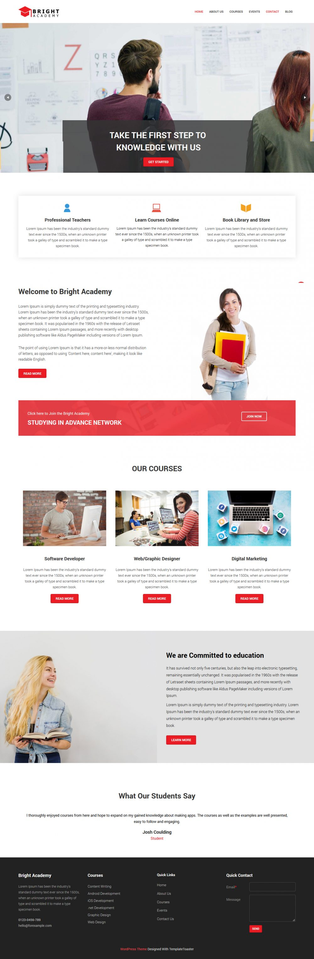 Bright Academy Learning Academy WordPress Theme
