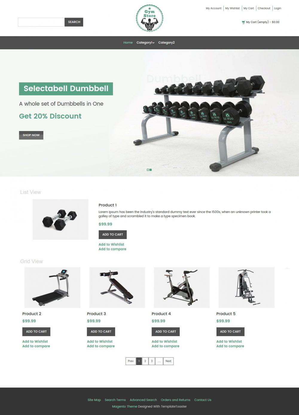 Gym Store Fitness Equipment Shop Magento Theme