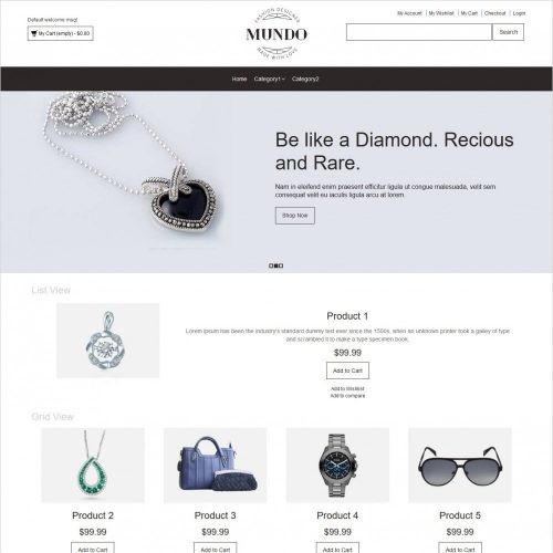 Mundo fashion accessories magento theme