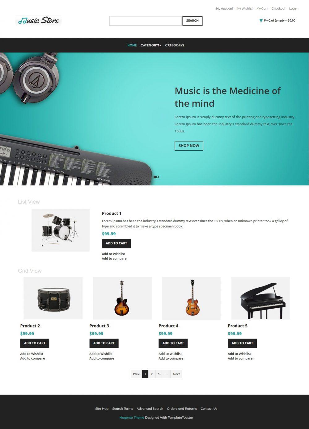 Music Store - Music Instruments Magento Theme