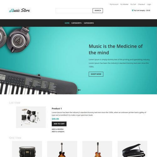 Music Store - Music Instruments Magento Theme