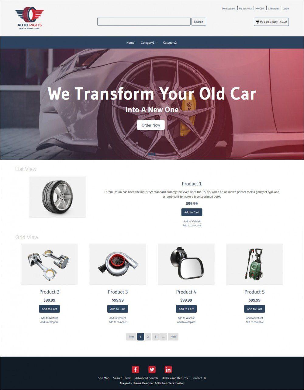 auto parts magento theme
