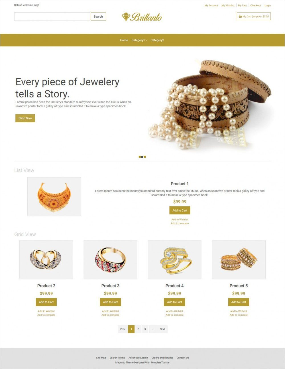 brillanto jewellery store magento theme