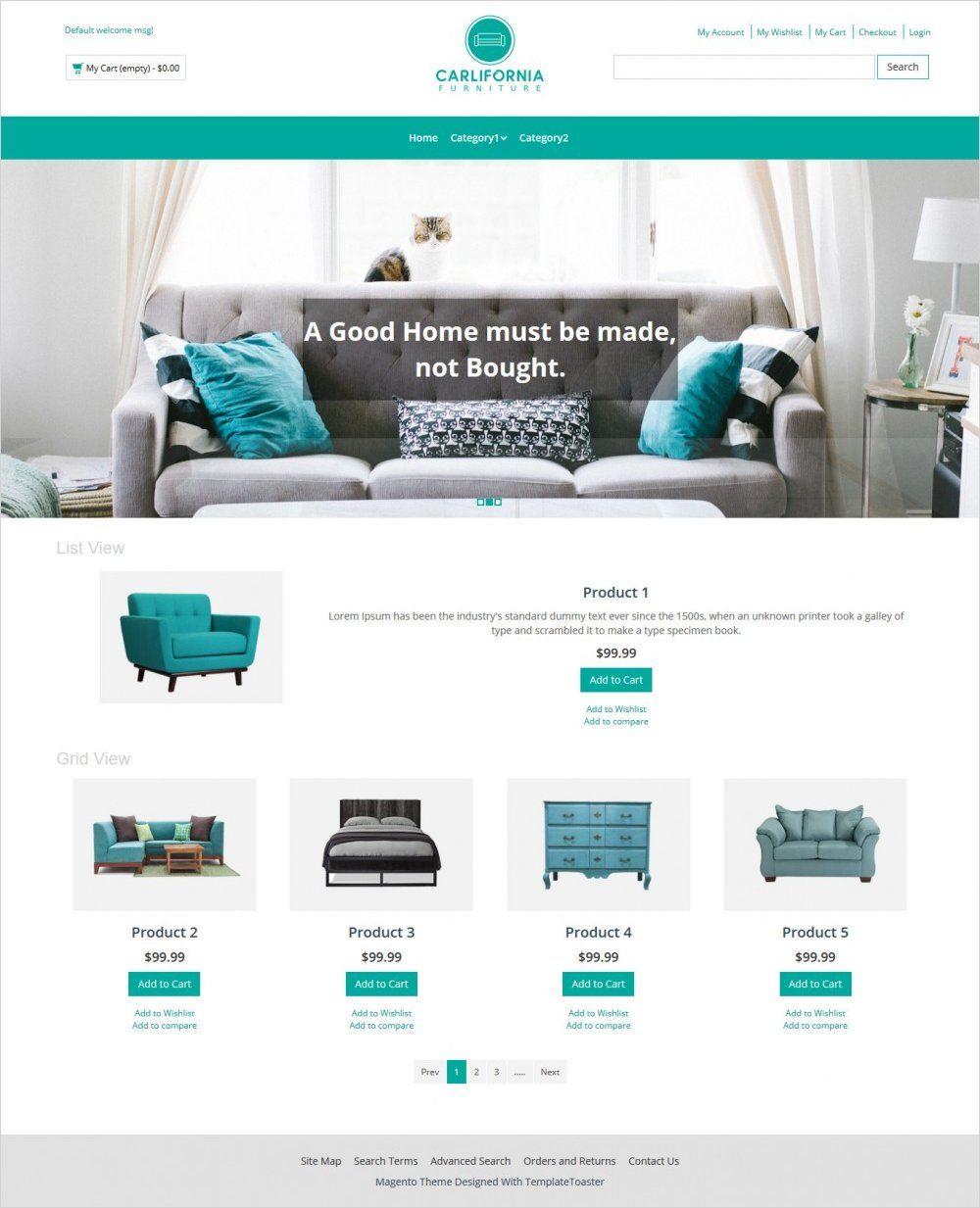 california furniture magento theme