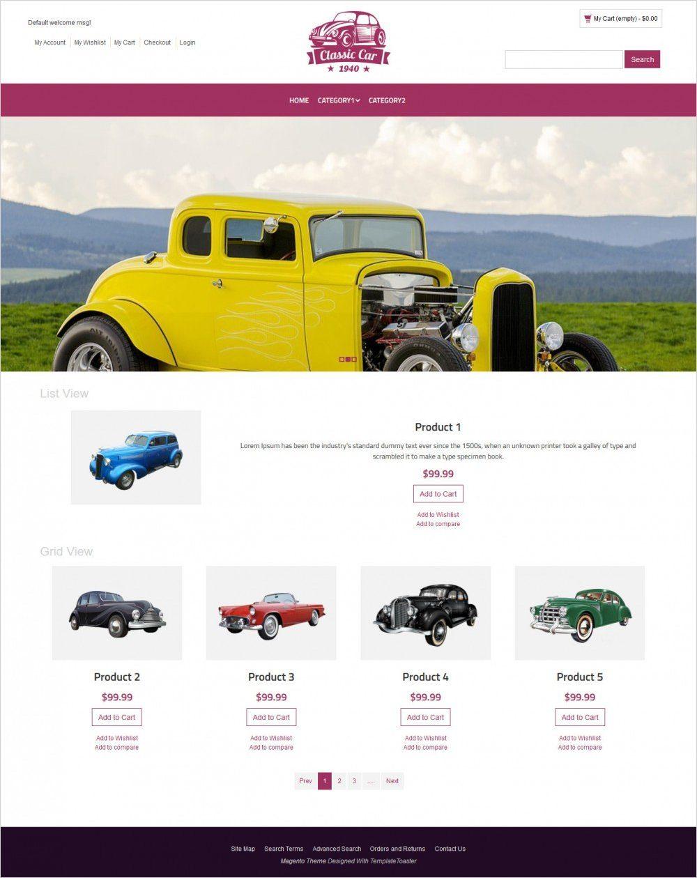 classic car magento theme