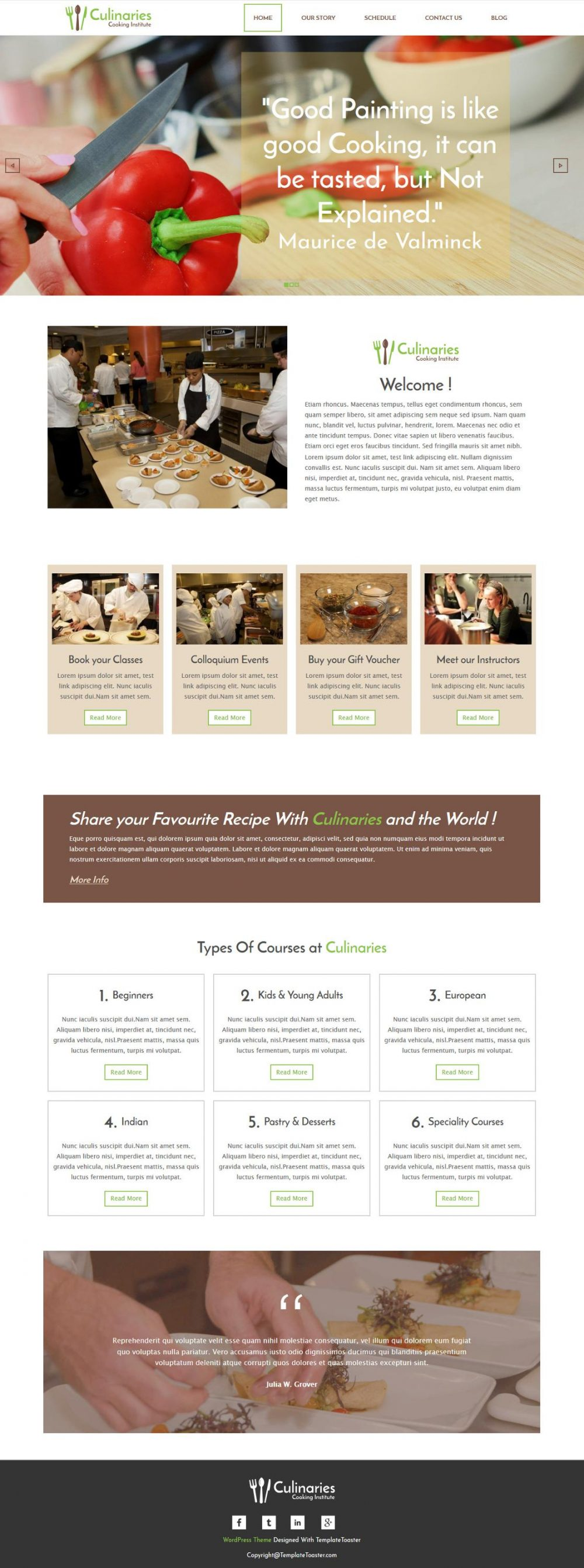 culinaries cooking institute wordpress theme