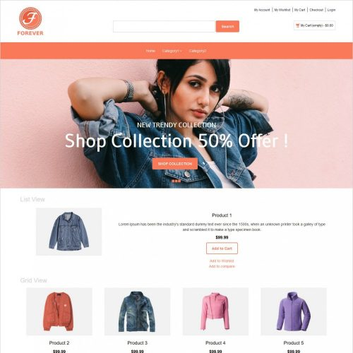 forever online cloth store magento theme