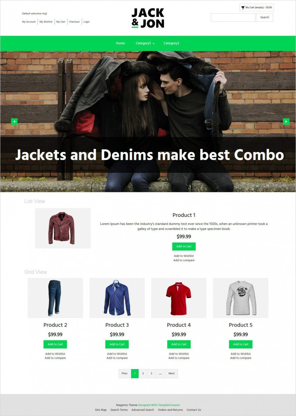 jack and jon clothing magento theme