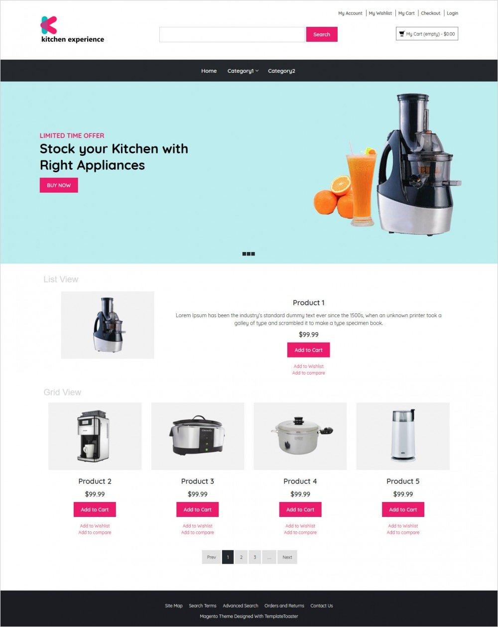 Kitchen Experience Appliances Magento Theme - TemplateToaster