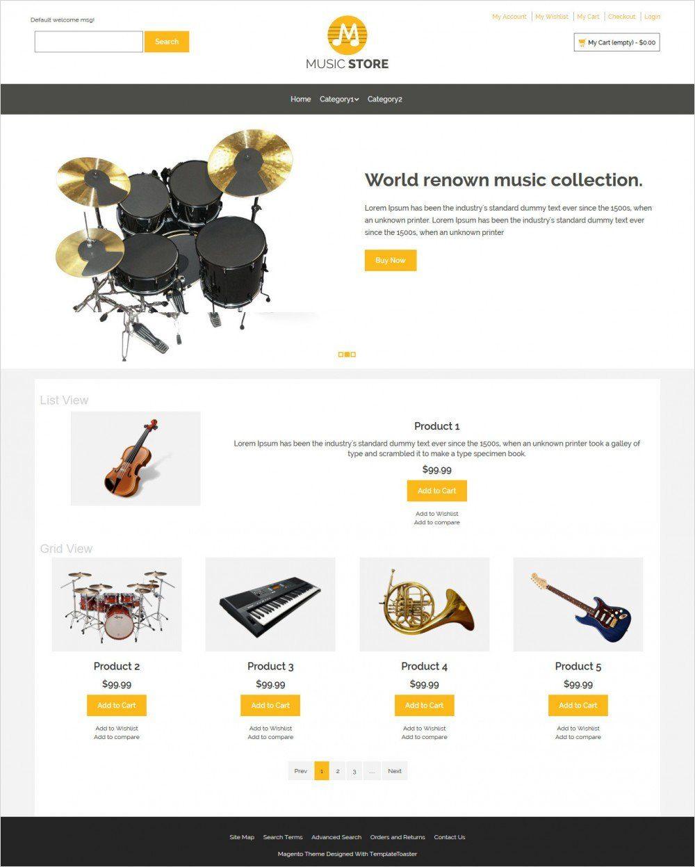 music store music instruments responsive magento theme
