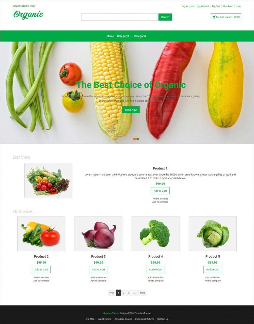organic food responsive magento theme