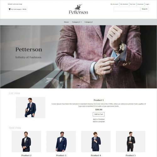 pettersen clothing responsive magento theme