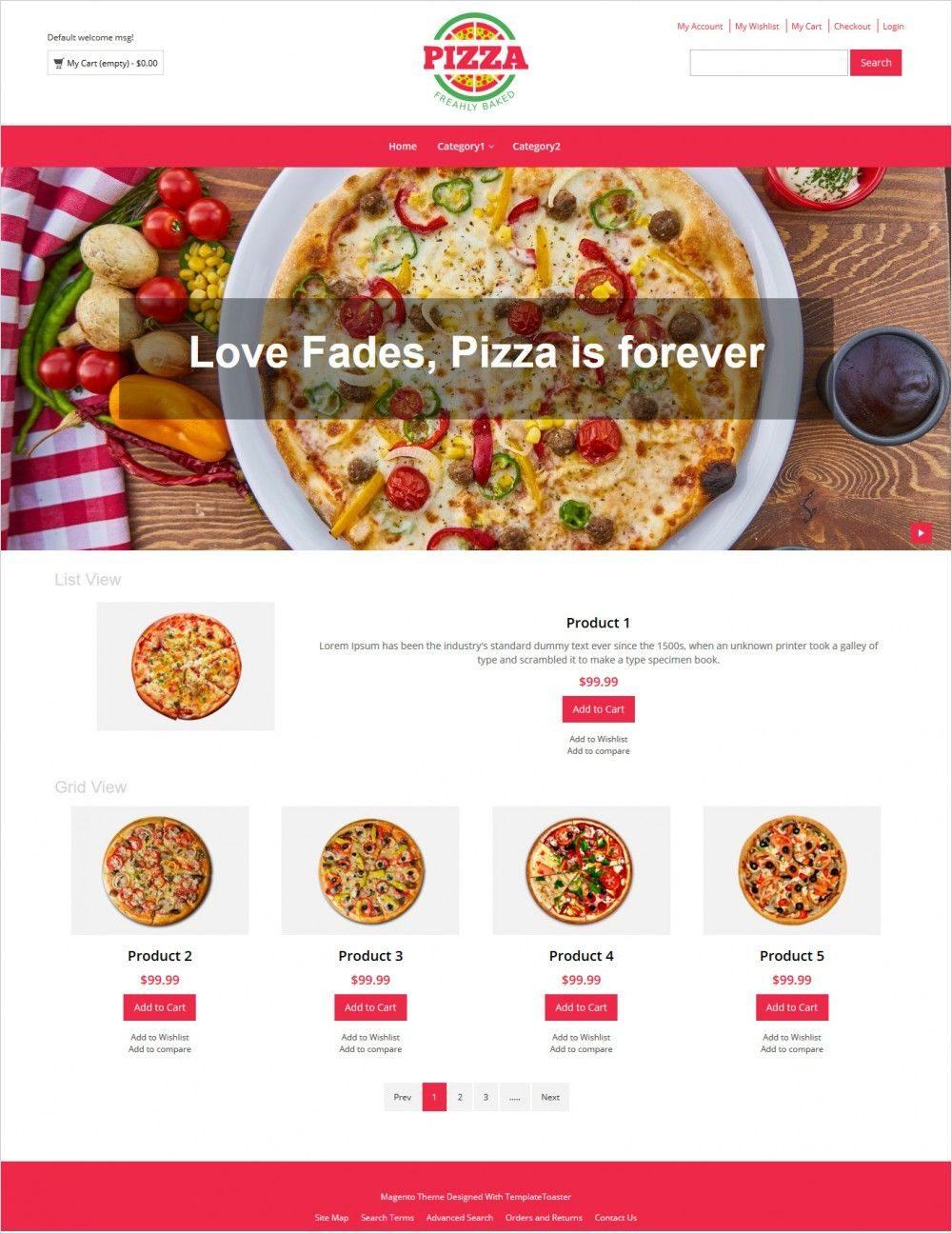 pizza store responsive magento theme