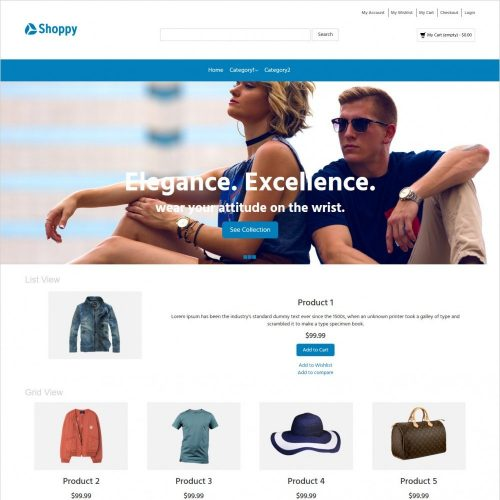 shoppy fashion clothes and accessories magento theme