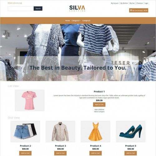 silva clothing store responsive magento theme