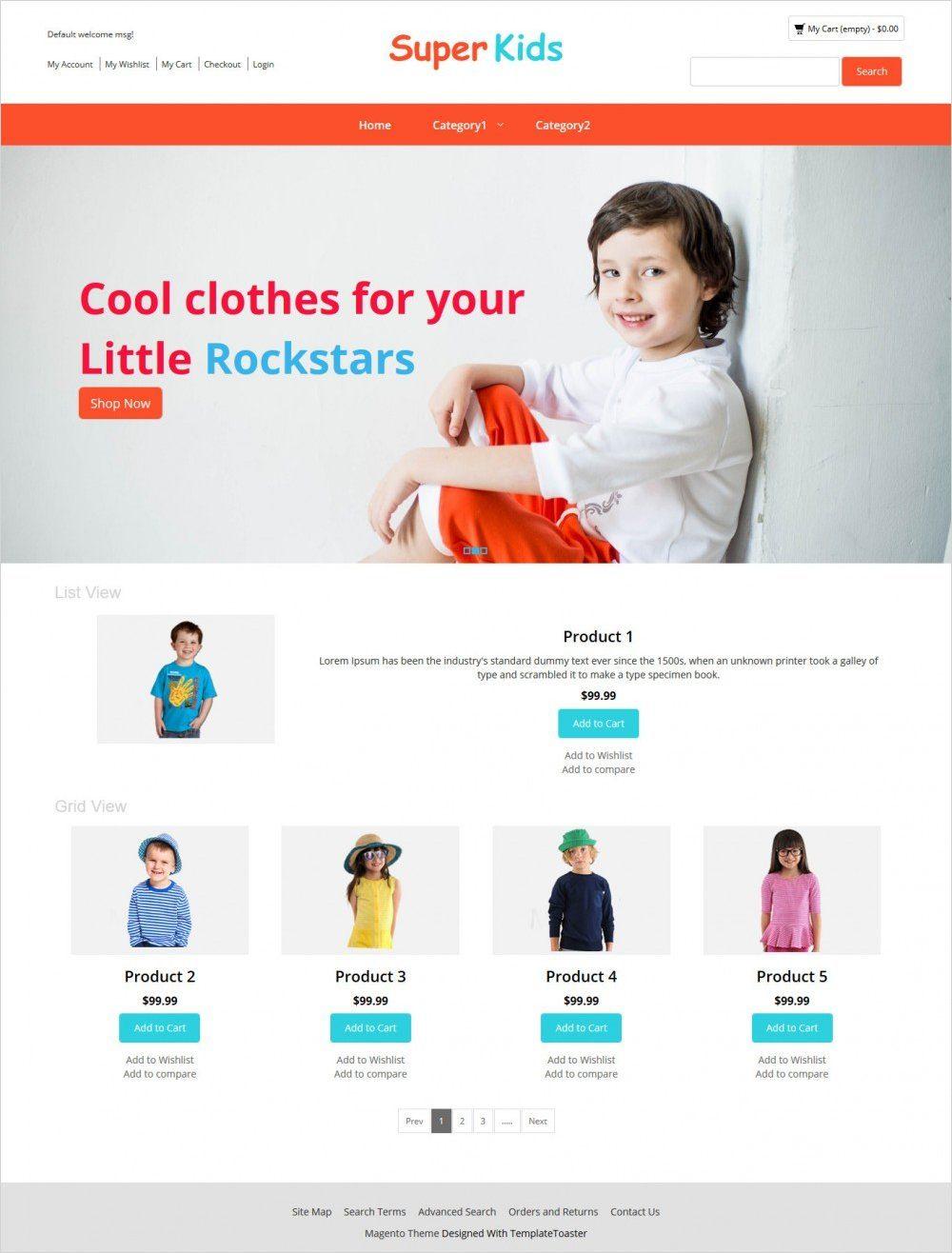 super kids clothing magento theme