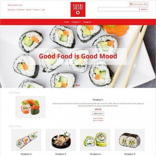sushi foods magento theme