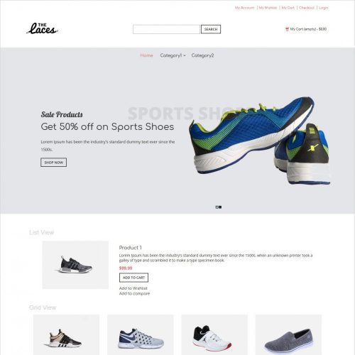 the laces footwear shop responsive magento theme