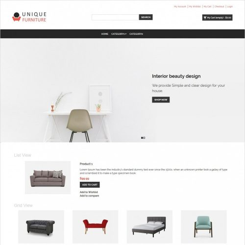 unique furniture shop responsive magento theme