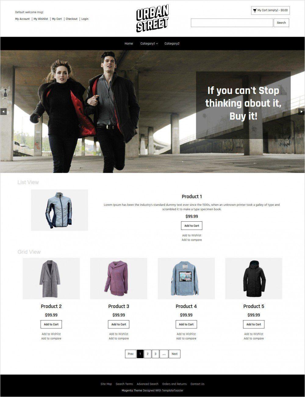 urban street clothing store responsive magento theme