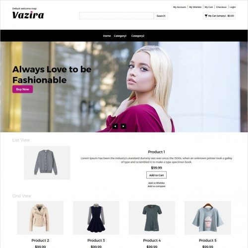 vazira fashion clothes and accessories magento responsive theme