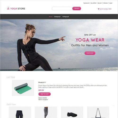 yoga store yoga product shop responsive magento theme
