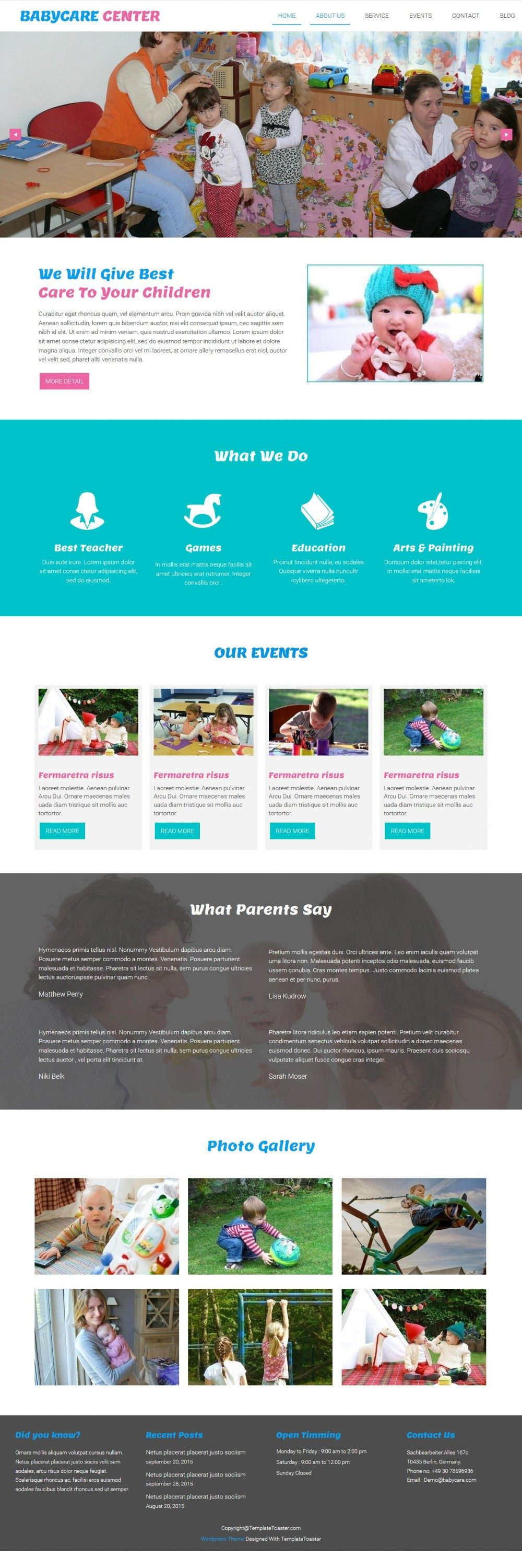 Babycare Center - Best Joomla Template For Baby Care Taker