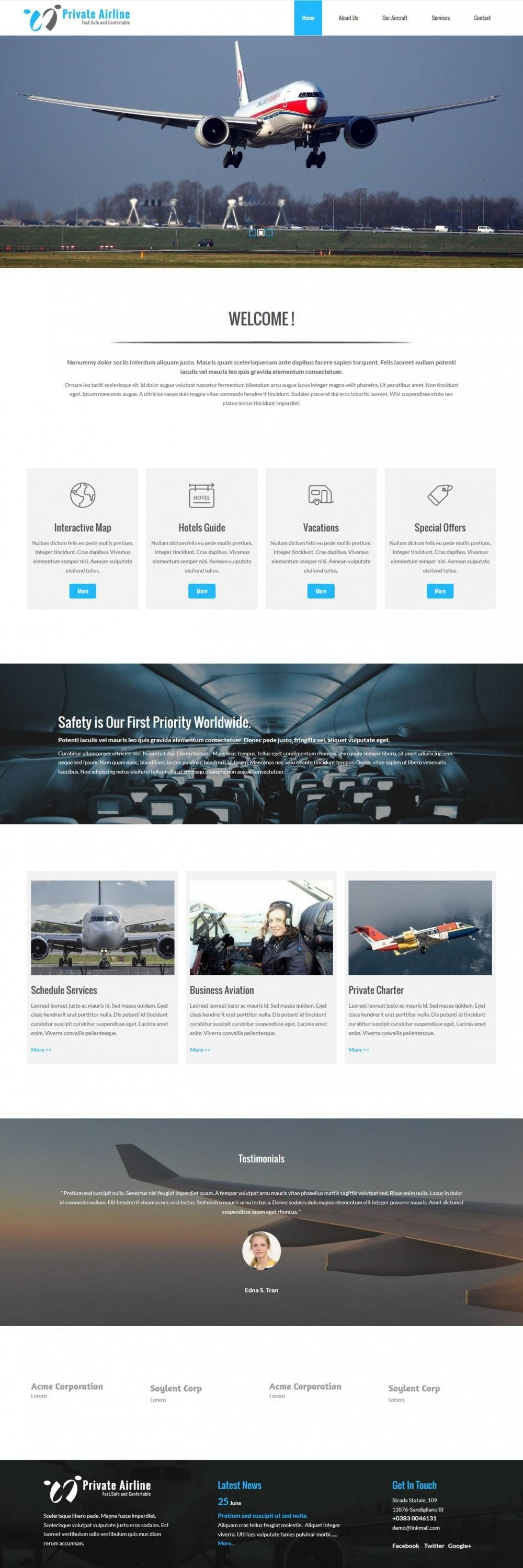 Private Airline Services Joomla Template