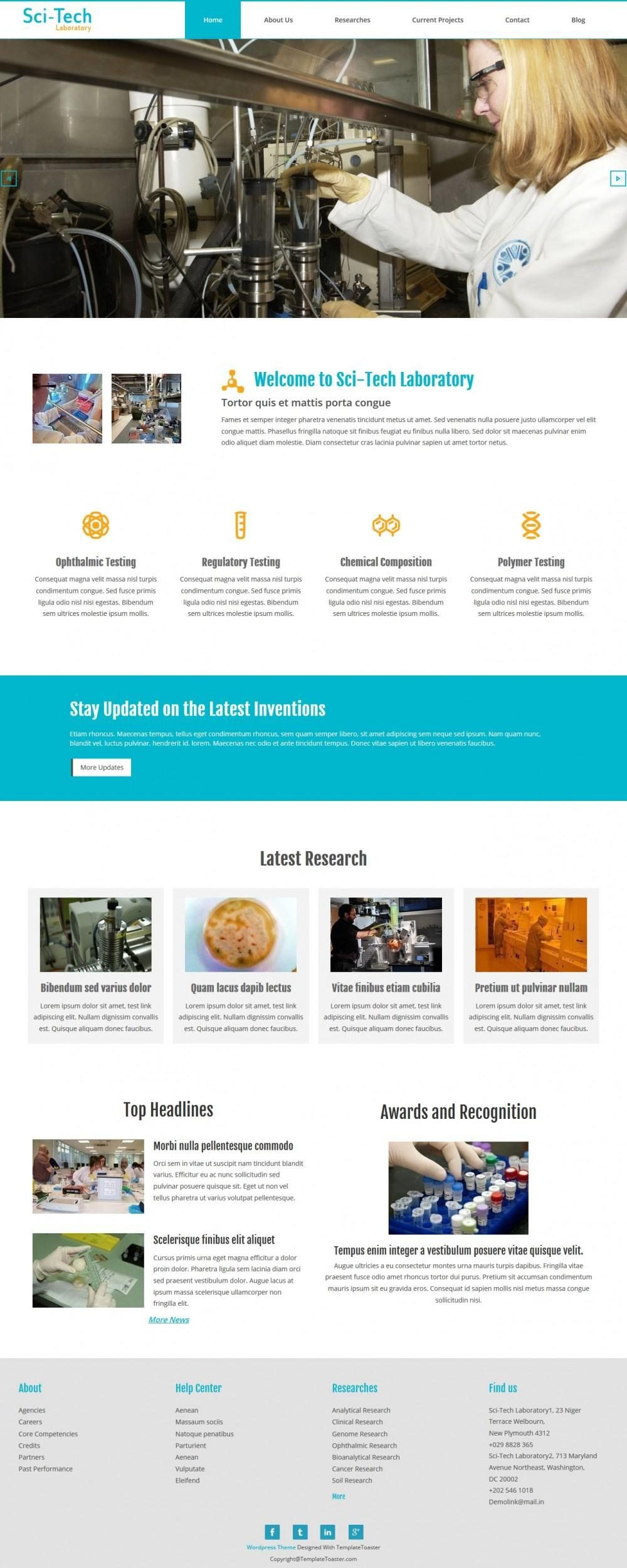 Sci-Tech Laboratory - Responsive Joomla Template for Institutes/Labs