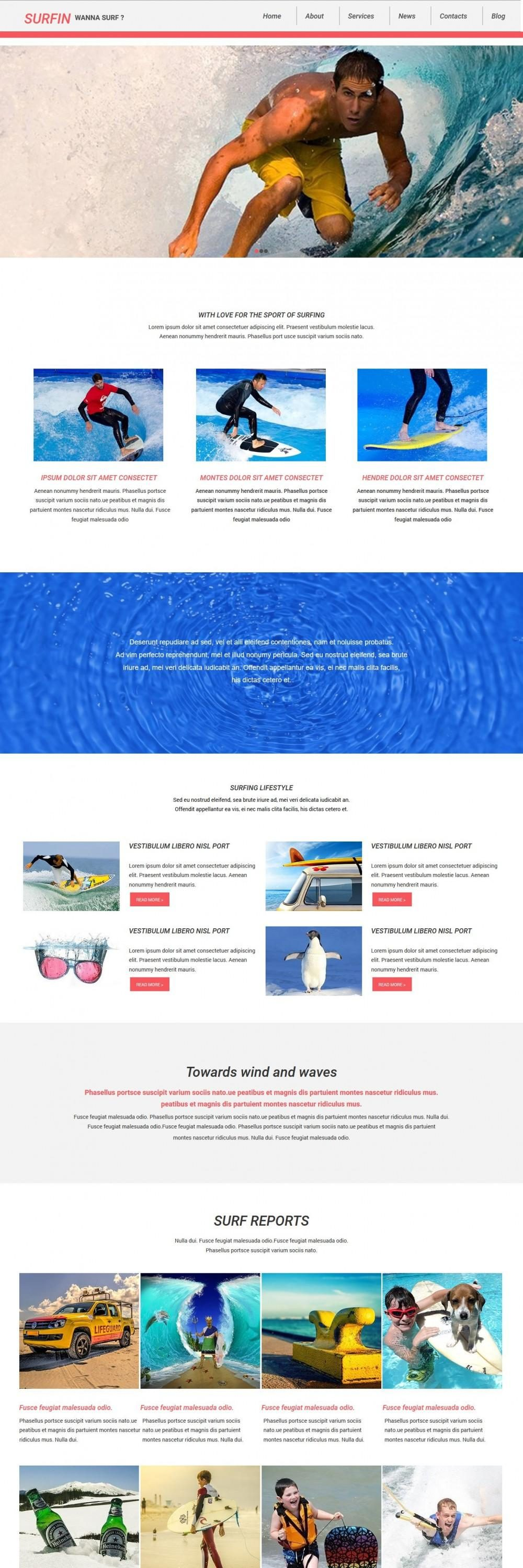 Surfin - Joomla Template for Surfin Club/Sports