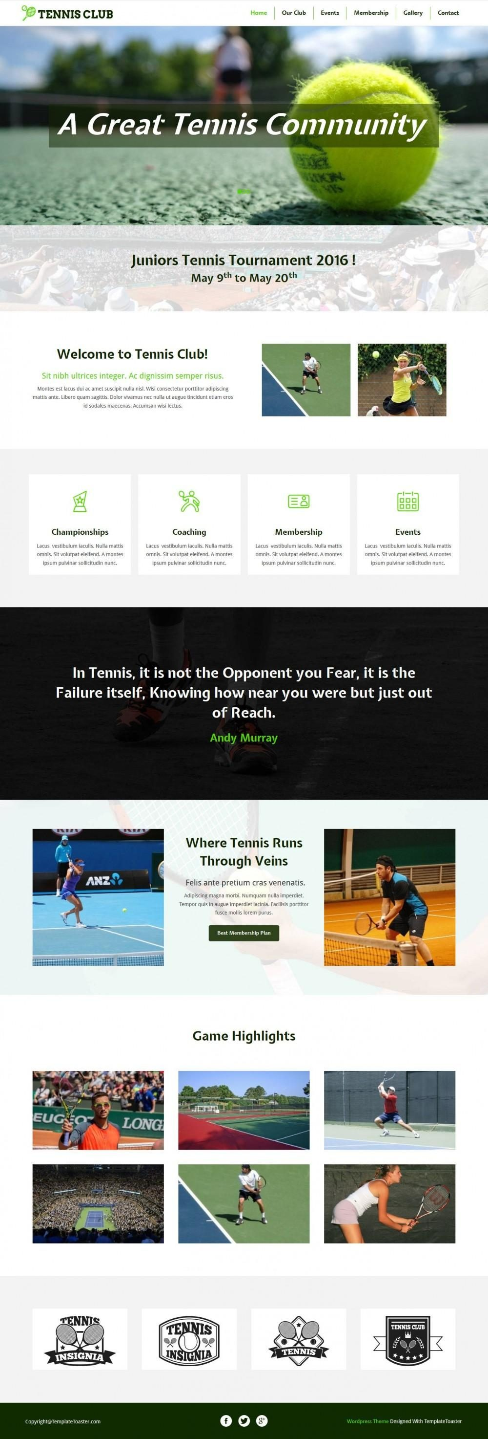 Tennis Club - Joomla Template for Tennis/Badminton Club
