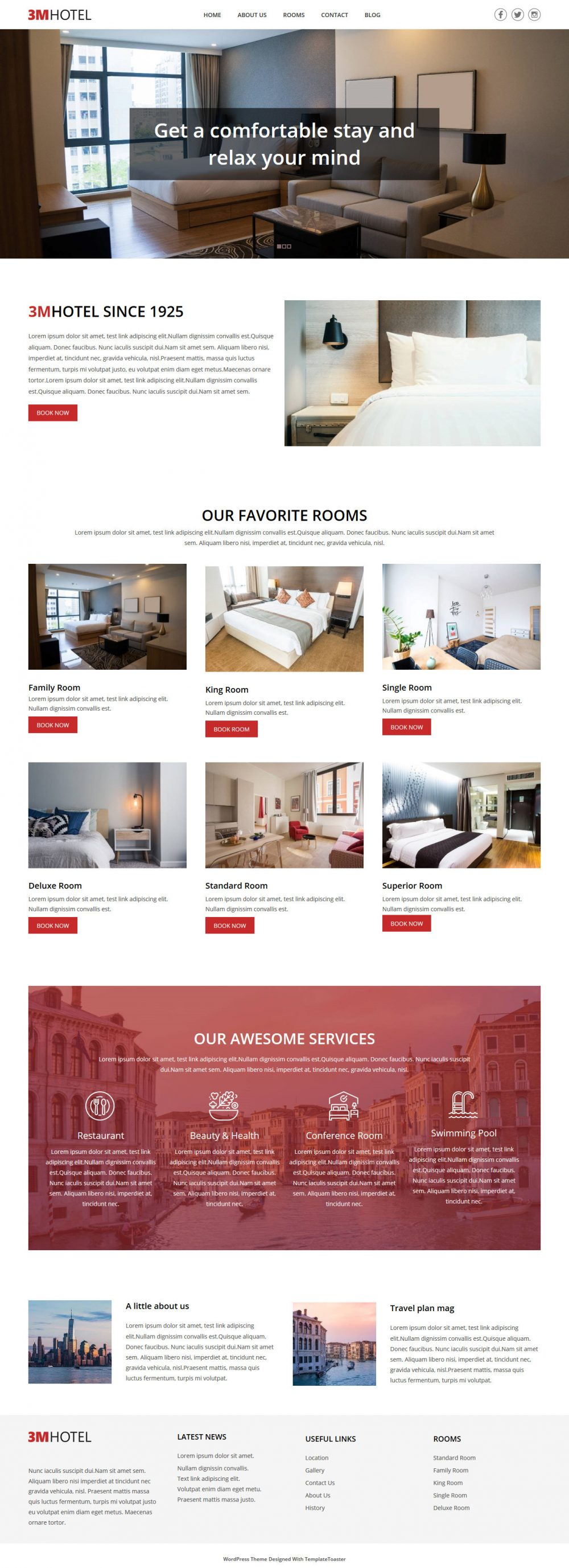 3M Hotel Free Joomla Template For Hotels