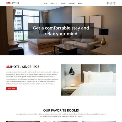 3M Hotel Free WordPress Theme For Hotels