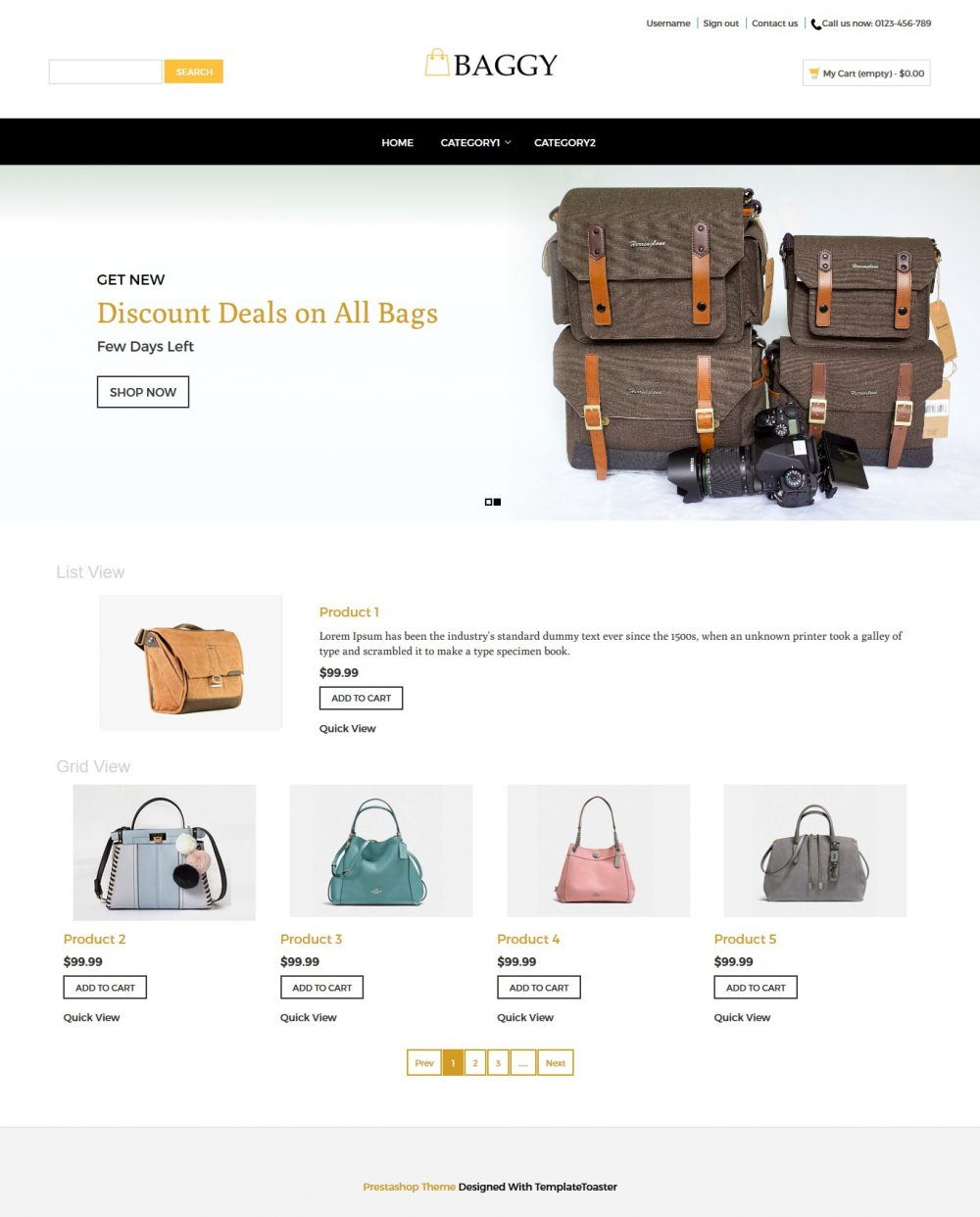 Baggy - Bag Store PrestaShop Theme
