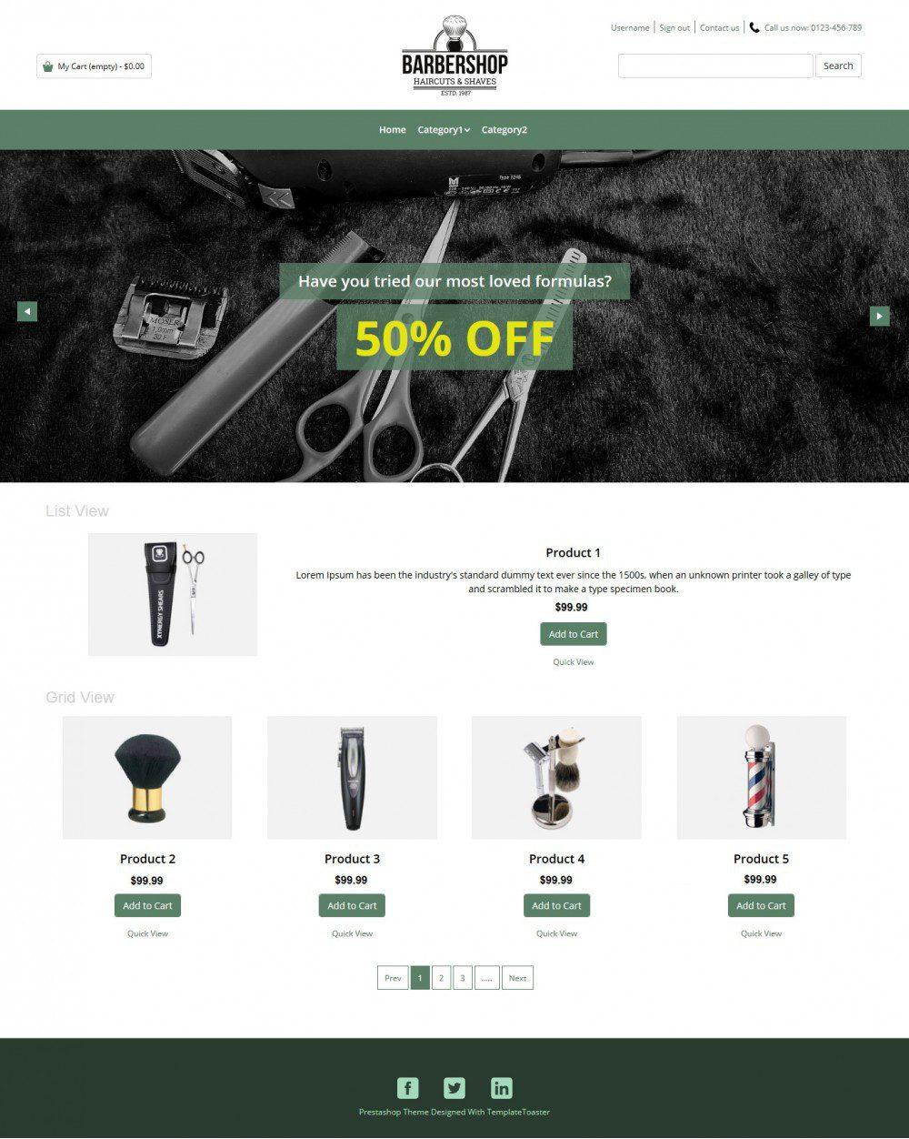 Barbershop Barber Products PrestaShop Theme