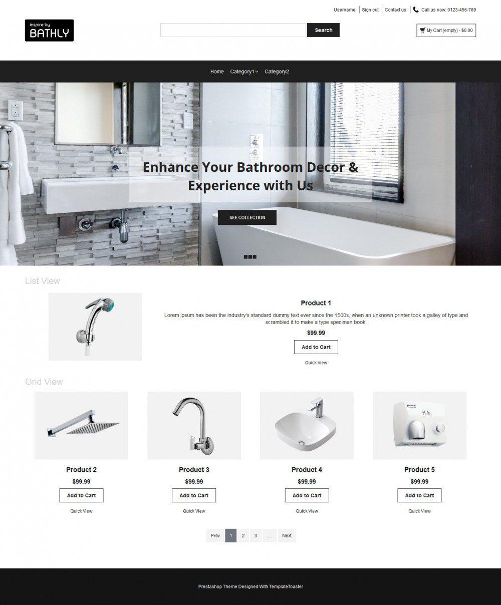 Bathly Bathroom Accessories PrestaShop Theme